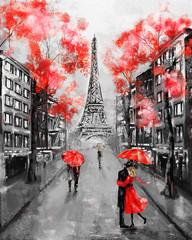 Fototapeta Oil Painting, Paris. european city landscape. France, Wallpaper, eiffel tower. Black, white and red, Modern art. Couple under an umbrella on street obraz