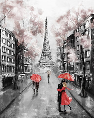 Oil Painting, Paris. european city landscape. France, Wallpaper, eiffel tower. Modern art. Couple under an umbrella on street