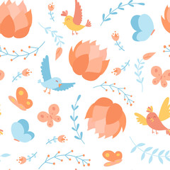 Seamless pattern with doodle cartoon vector floral elements