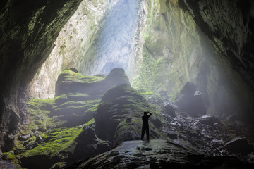 Mystery misty cave entrance in Son Doong Cave, the largest cave in the world in UNESCO World Heritage Site Phong Nha-Ke Bang National Park, Quang Binh province, Vietnam Wall mural