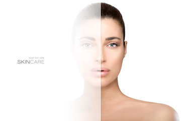 Faded side on face of woman. Skin care concept