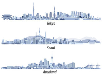 Fototapete - vector illustrations of Tokyo, Seoul, Sydney and Auckland skylines in soft blue color palettes