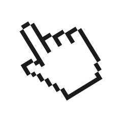 pixelated hand cursor icon image vector illustration design