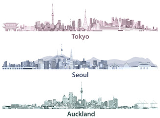Fototapete - Tokyo, Seoul, Sydney and Auckland skylines in different color palettes