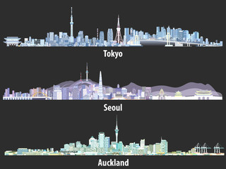 Fototapete - abstract illustrations of Tokyo, Seoul, Sydney and Auckland skylines at night in different color palettes