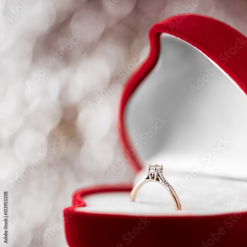 Wedding diamond ring in red heart shaped gift box stock for Heart shaped engagement ring box