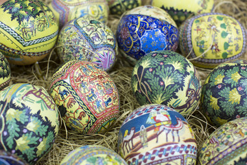 Traditional Arabic folk paintings on ostrich eggs on the eastern market