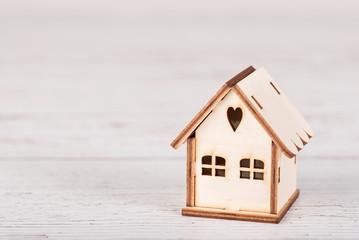 House on wood background