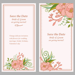 Vintage delicate invitation with flowers