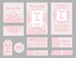 wedding invitation floral template collection