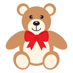 Flat icon teddy bear with red bow isolated on white background. Vector illustration.