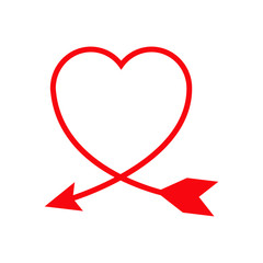 Icono plano flecha formando corazon rojo en fondo blanco