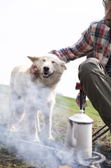 Cropped image of man stroking dog by bonfire at campsite