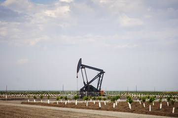 Oil pump on agricultural field against sky