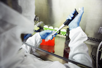 Scientist using pipette during experiment in laboratory