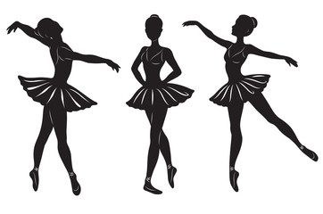 The silhouettes of three ballerinas isolated on a white backgrou