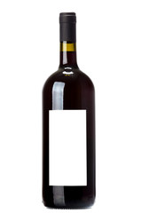 Wine bottle on white background.