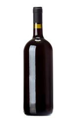 Wine bottle on white background.