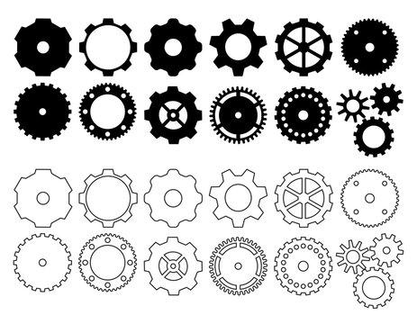 Steampunk gear cogwheel icons. Vector symbols.