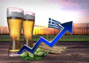 rising beer consumption in Greece. 3D render