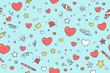 Seamless pattern with hearts and love symbols for Valentine Day, Lovers Day or wedding. Hand drawn design in Love theme for wrapping paper, packaging, wallpaper, background. Vector Illustration
