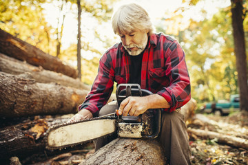 Male lumberjack examining chainsaw while sitting on log in forest