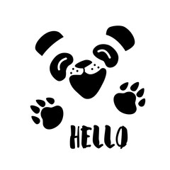 Panda says Hello. Vector background with cartoon bear.