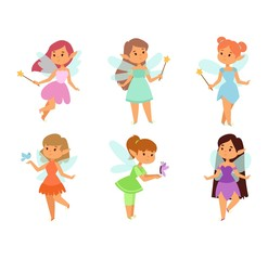 Fairies cartoon character vector.