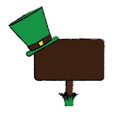 cartoon wooden sign st patrick day hat vector illustration eps 10