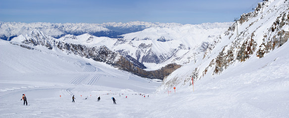 panoramic view of the slope on the alpine skiing resort