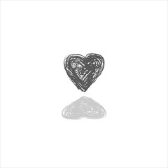 heart doodle icon vector