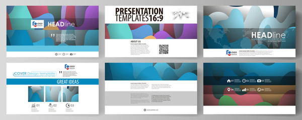 Business templates in HD format for presentation slides. Easy editable vector layouts in flat style. Bright color pattern, colorful design with overlapping shapes forming abstract beautiful background