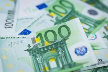 Euro banknotes with various denomination