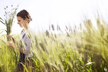 Side view of female farmer holding wheat plants on field