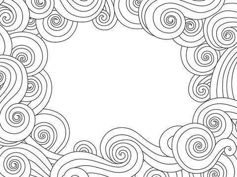Abstract hand drawn frame, border with outline sea wave background isolated on white. Horizontal composition.
