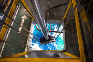 High angle view of cable winch in oil rig