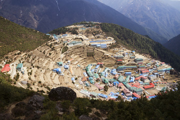 High angle view of houses on mountain