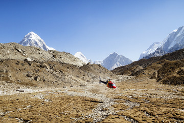 Helicopter landing on Mt. Everest against clear blue sky