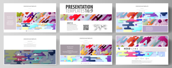 Business templates in HD format for presentation slides. Abstract vector design layouts. Bright color lines and dots, colorful minimalist backdrop, geometric shapes, beautiful minimalistic background.