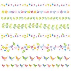 花と葉、小鳥の罫線 デザイン素材
