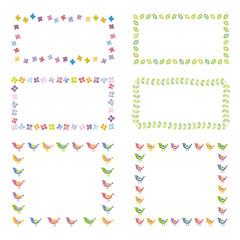 花と葉、小鳥のフレーム デザイン素材