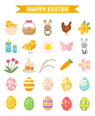 Easter icon set, flat style. Isolated on white background. Vector illustration