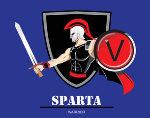 "colorful vector illustration of Spartan / trojan warrior,holding shield and sword over the shield icon. ""V"" on the shield, symbolizing Victory, Viva etc.You can replace the ""V"" with your initial group"