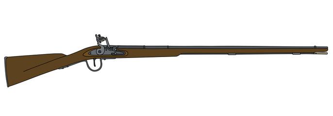 Historical long matchlock rifle