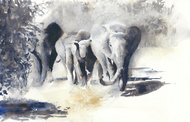 Elephants watercolor painting african safari