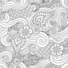Abstract hasian stylized ornament seamless pattern with flowers and curls isolated on white background.