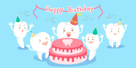 cute cartoon tooth feel happily