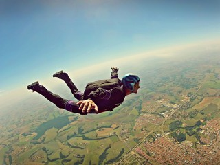 Skydiver freedom concept vintage color