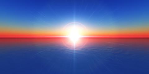 sunset horizon sea
