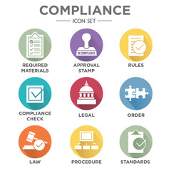 In compliance - icon set that shows a company passed inspection